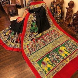 Black and red chenoori silk sarees