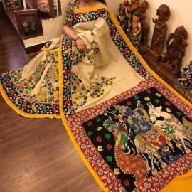 Cream and yellow chenoori silk sarees