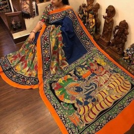 Navy blue and orange chenoori silk sarees