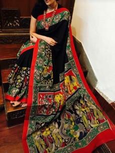 Black with red chenoori silk sarees