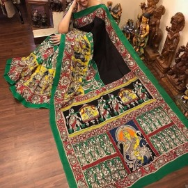 Black and dark green chenoori silk sarees