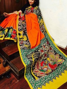 Orange and black chenoori silk sarees
