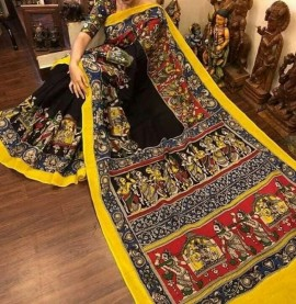 Black and yellow chenoori silk sarees