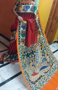 Red and orange chenoori silk sarees