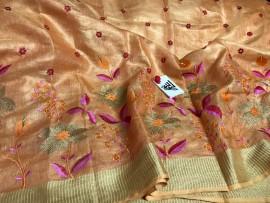 Orange tissue linen sarees with embroidery work