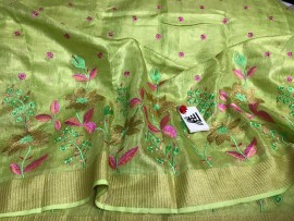 Green tissue linen sarees with embroidery work