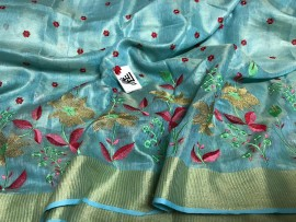 Turquoise blue tissue linen sarees with embroidery work