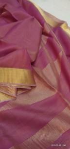 Dark pink tussar tissue silk sarees