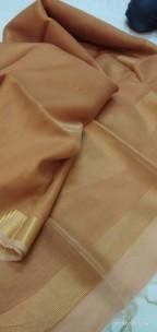 Dark beige tussar tissue silk sarees