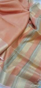 Peach Tussar tissue silk sarees