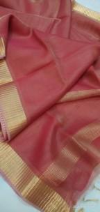 Red tussar tissue silk sarees