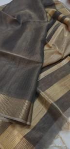 Black tussar tissue silk sarees