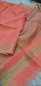 Dark peach Tussar tissue silk sarees