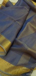 Navy blue Tussar tissue silk sarees