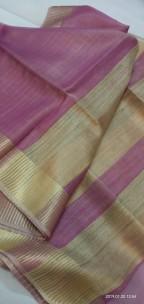 Purple tussar tissue silk sarees