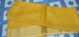 Yellow tussar tissue silk sarees