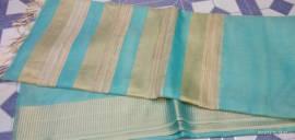 Sky blue Tussar tissue silk sarees
