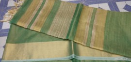 Dark green Tussar tissue silk sarees