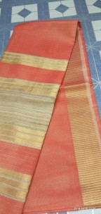 Orange tussar tissue silk sarees
