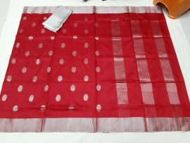 Red uppada sarees with silver butti