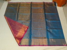Blue with pink uppada plain tissue sarees