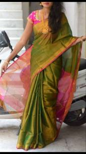 Green with pink plain uppada tissue sarees