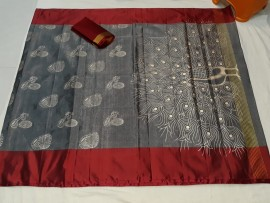 Maroon and grey Uppada Tissue print sarees