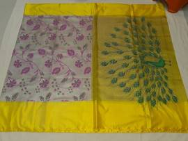 Cream and lemon yellow uppada Tissue print sarees