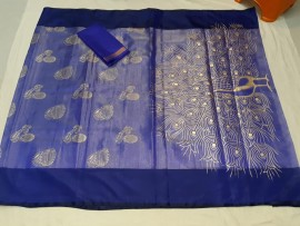 Royal Blue uppada tissue print sarees