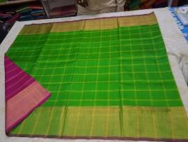 Apple green with dark Magenta Uppada checks with jari border