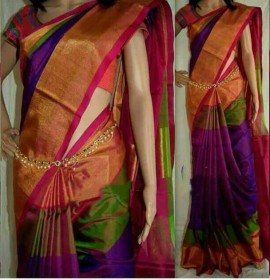 Purple and pink uppada special border sarees