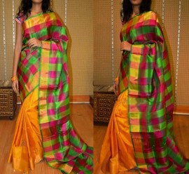 Yellow and green uppada checks half and half sarees