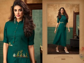 Dark green satin cotton kurtis with embroidery work