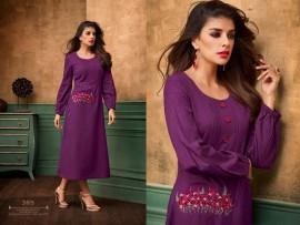 Purple satin cotton kurtis with embroidery work