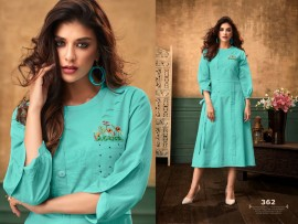 Turquoise green satin cotton kurtis with embroidery work