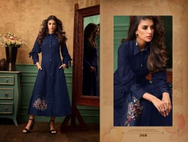 Navy blue satin cotton kurtis with embroidery work