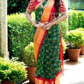 Dark green kuppadam pattu sarees