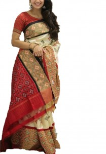 Cream with green and pink pochampally ikkat sarees