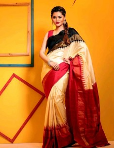 Cream white with black and red pochampally ikkat sarees