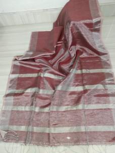 Burgundy tissue linen sarees