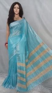 Sky blue tissue linen sarees