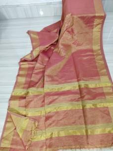 Dark pink tissue linen sarees