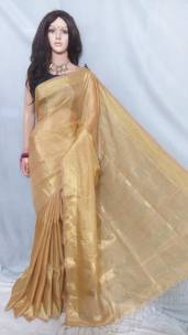 Golden tissue linen sarees