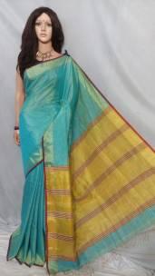 Turquoise blue tissue linen sarees