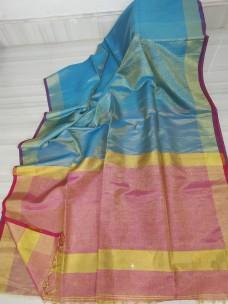 Light blue and pink tissue linen sarees