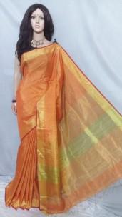 Orange tissue linen sarees