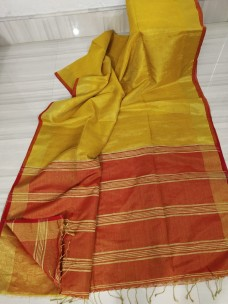 Golden and red tissue linen sarees