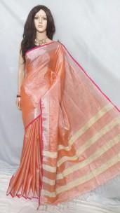 Peach Tissue linen sarees