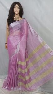 Pink tissue linen sarees