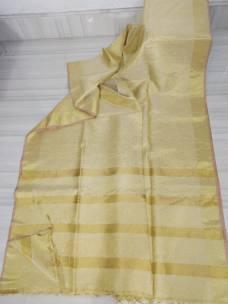 Cream gold linen tissue sarees